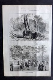 ILN 1880 Antique Print. Ruins of the Old Castle & Entrance Lodge, Hawarden